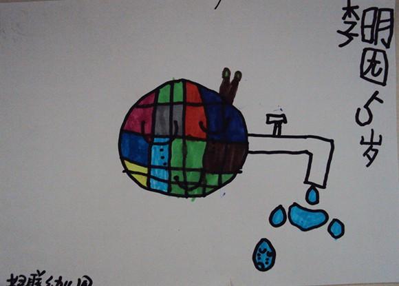 节约用水用电绘画展示图片